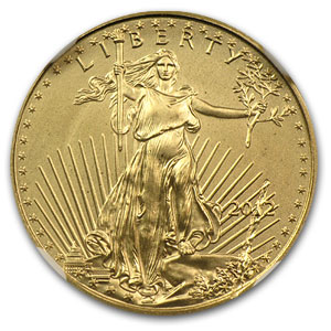 2012 1/10 oz Gold American Eagle MS-69 NGC (Mint Error)